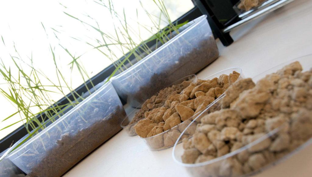 laboratoire mezagri, échantillons de sol et pousses